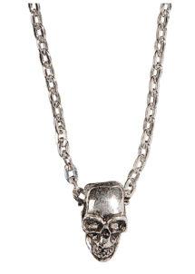 collier chaine tête de mort, collier tête de mort, collier crâne, bague rocker pas cher, collier de pirate, bijoux halloween, accessoires halloween, bague tête de mort, collier de biker, Collier Chaîne Tête de Mort