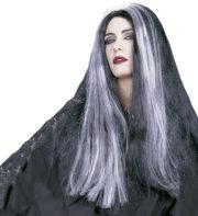 perruque noire et blanche, perruque de sorcière, perruque mortisia, perruque femme Perruque Mortisia, Noire et Mèches Grises