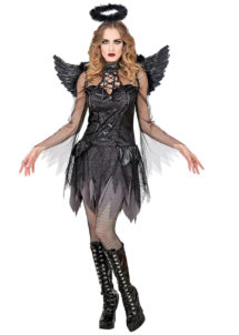 déguisement d'ange noir femme, déguisement ange noir halloween, déguisement soirée ange et démon femme, costume halloween femme, costume ange noir femme, déguisement ange de la mort halloween, Déguisement d'Ange Noir