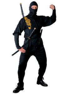 déguisement de ninja homme, déguisement de ninja adulte, costume de ninja, déguisement japonais homme, déguisement asie adulte, Déguisement Ninja, Noir et Or