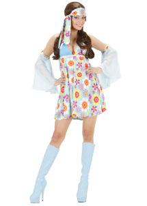 déguisement hippie femme, costume de hippie femme, déguisement robe hippie femme, soirée à thème hippie, Déguisement Hippie Girl, avec Manchettes, 70s