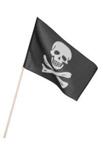 drapeau de pirate, décoration pirate, accessoire pirate déguisement, drapeau tête de mort, décoration halloween, Drapeau de Pirate sur Bâton