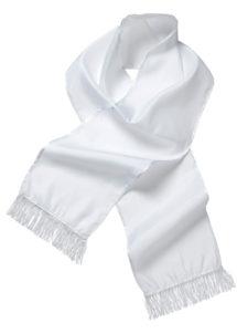 écharpe blanche de dandy, écharpe blanche en satin, écharpe gangster, écharpe années 30, accessoire années 30, Echarpe Blanche de Dandy