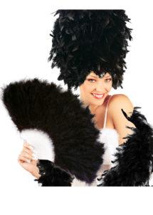 éventail en plumes noires, accessoires en plumes, éventails de déguisement, accessoires carnaval, accessoires années 30, Eventail en Plumes Noires