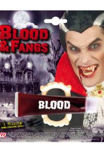 faux sang, dents de vampire, tube de faux sang, Faux Sang en Gel + Dentier