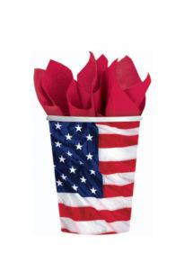 vaisselle jetable, gobelets en carton, vaisselle verte, vaisselle pour anniversaires, gobelets drapeau américain, Vaisselle Etats Unis, Gobelets Drapeau Américain