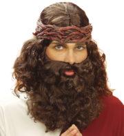 perruque pour homme, perruque pas chère, perruque de déguisement, perruque homme, perruque de jésus, perruque châtain, perruque avec barbe, perruque jésus Perruque + Barbe de Jesus, Châtain