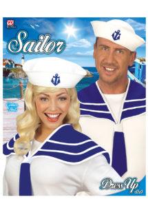 accessoire déguisement de marin, accessoire marin déguisement, kit de marin, chapeau de marin, col de marin déguisement, Kit de Marin, Bob Ancre + Col
