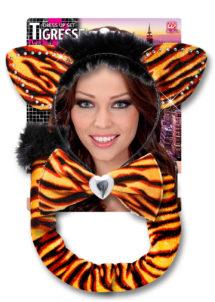 accessoire déguisement tigre, accessoire tigre déguisement, oreilles de tigre déguisement, queue de tigre déguisement, accessoire déguisement animaux, Kit de Tigresse