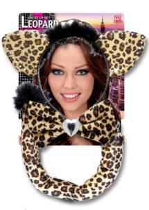 kit de léopard déguisement, accessoire déguisement de léopard, accessoire léopard déguisement, oreilles de léopard déguisement, queue de léopard déguisement, Kit de Léopard, Oreilles, Noeud et Queue