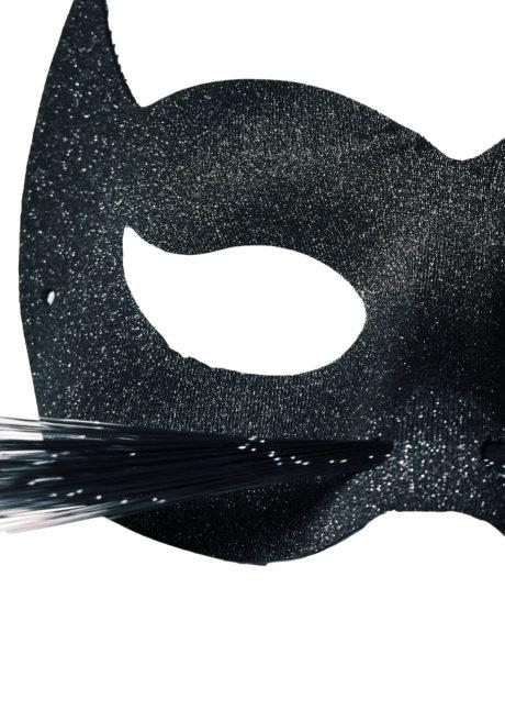 masque de chat, masque chat vénitien, loup chat noir, masque chat noir, Loup Cat Glitter