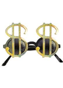 lunettes dollars, lunettes bling bling, lunettes dollars dorés, Lunettes Dollars