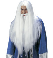 perruque homme, perruque blanche, perruque avec barbe, perruque druide, perruque magicien, perruque gandalf Perruque + Barbe, Druide Merlin, Blanche