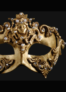 masque vénitien, loup vénitien, masque carnaval de venise, véritable masque vénitien, accessoire carnaval de venise, déguisement carnaval de venise, loup vénitien fait main, Vénitien, Barocco Dama, Or