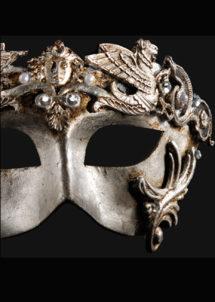 masque vénitien, loup vénitien, masque carnaval de venise, véritable masque vénitien, accessoire carnaval de venise, déguisement carnaval de venise, loup vénitien fait main, Vénitien, Barocco Grifone, Argent