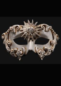 masque vénitien, loup vénitien, masque carnaval de venise, véritable masque vénitien, accessoire carnaval de venise, déguisement carnaval de venise, loup vénitien fait main, Vénitien, Barocco Sole, Blanc