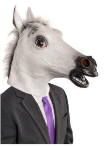 masque de cheval blanc, masque cheval latex, masque animal, masques animaux, Masque de Cheval Blanc, Latex