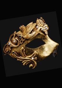 masque vénitien, loup vénitien, masque carnaval de venise, véritable masque vénitien, accessoire carnaval de venise, déguisement carnaval de venise, loup vénitien fait main, Vénitien, Barocco Grifone, Or