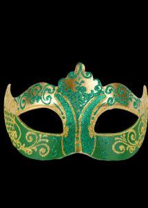 masque vénitien, loup vénitien, masque carnaval de venise, masque vénitien fait à la main, Vénitien, Stella, Vert et Or
