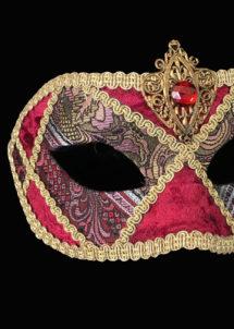 masque vénitien, masque carnaval de Venise, loup vénitien, masque vénitien, masque carnaval de venise, Vénitien Arlecchino Stoffa, Passementerie Rouge