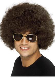 perruque disco, perruque afro châtain, perruque disco homme, Perruque Afro Funky 80, Châtain
