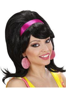 perruque années 60 noire, perruque blonde femme, perruque années 60, Perruque Années 60, Mod, Noire