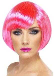 perruque rose, perruque femme rose, perruque femme courte, Perruque Babe, Rose Fluo
