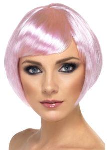 perruque rose, perruque femme rose, perruque femme courte, Perruque Babe, Rose