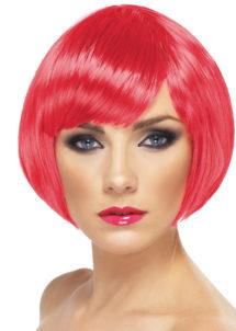 perruque rouge, perruque femme rouge, perruque femme courte, Perruque Babe, Rose Fuchsia