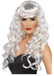 perruque blanche bouclée, perruque blanche femme, perruque de sirène, perruque longs cheveux bouclés, Perruque Sirène, Blanche