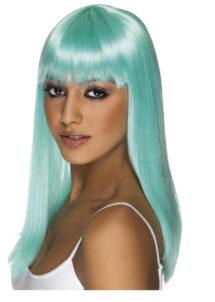 perruque bleue femme, perruque carré bleu femme, perruque turquoise, perruques femmes, Perruque Glamourama, Bleue, Lagon