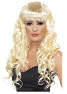 perruque blonde bouclée, perruque blonde femme, perruque de sirène, perruque longs cheveux bouclés, Perruque Sirène, Blonde