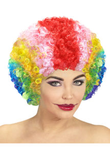 perruque de clown, perruque clown femme, perruque clown multicolore, perruque afro clown, Perruque de Clown Mixte, Multicolore
