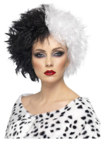 perruque cruella, perruque de cruella pour femme, perruque halloween, perruque noire et blanche, Perruque Cruella, Noire et Blanche