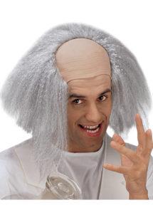 perruque pour homme, perruque pas chère, perruque de déguisement, perruque homme, perruque grise, perruque avec faux crâne, perruque de savant, Perruque Savant