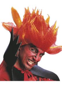 perruque homme, perruque de diable, perruque rouge, perruque halloween, Perruque de Diable, Rouge et Orange