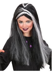 perruque sorcière enfant, perruque mortisia enfant, perruque noire et blanche enfant, perruque pour enfant, Perruque de Sorcière, Noire, Mèches Phosphorescentes
