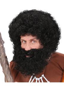 perruque noire homme, perruque et barbe noire, perruque frisée noire homme, perruques hommes, barbe noire, Perruque + Barbe, Character, Noire