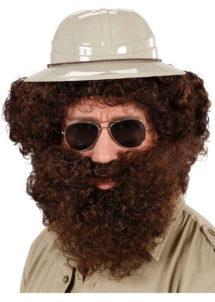 perruque châtain homme, perruque et barbe châtain, perruque et barbe pour homme, perruques pour homme, perruque frisée homme, Perruque + Barbe, Character, Châtain