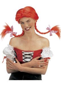 Perruque fifi brin d'acier, perruque rouge, perruque tresses rouges, perruque nattes femme, perruque rouge femme, Perruque Fifi Brin d'Acier, Tresses Rouges