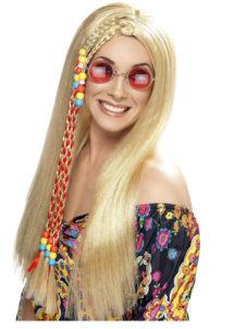 perruque hippie femme, perruque hippie blonde, perruque de hippie femme, perruque femme, Perruque Hippie Perles, Blonde