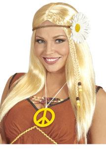 perruque blonde femme, perruque hippie femme, perruque blonde cheveux longs, Perruque Hippie Marguerite, Blonde