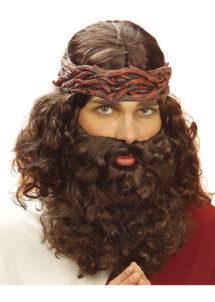 perruque Jesus pour homme, perruque avec barbe, perruques hommes, perruque messie, Perruque + Barbe de Jesus, Châtain
