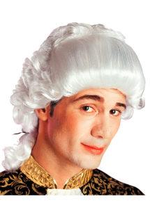 perruque homme, perruque de marquis, perruque versailles, perruque catogan, perruque louis XIV, perruque de noble, Perruque de Marquis Chevalier, Blanche