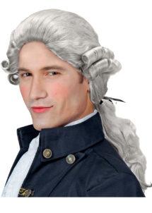 perruque homme, perruque grise, perruque de marquis, perruque casanova, perruque versailles, perruque catogan, Perruque de Marquis Comte Alfonso, Grise