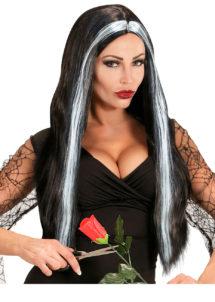 perruque noire et blanche, perruque de sorcière, perruque mortisia, perruque femme, Perruque Mortisia, Noire et Mèches Grises