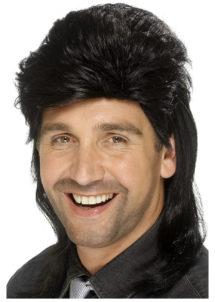perruque disco homme, perruque homme disco, perruque noire homme, Perruque Années 80, Jason Mulet, Noire