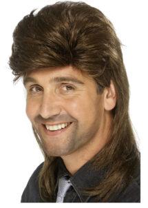 perruque disco homme, perruque homme disco, perruque châtain homme, Perruque Années 80, Jason Mulet, Châtain
