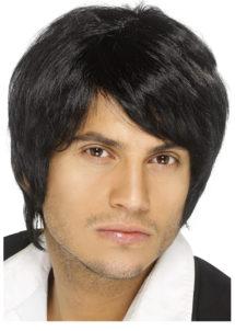 perruque noire homme, perruques hommes, perruque années 80, perruque boyband, Perruque Boy Band, Noire