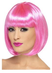 perruque rose femme, perruque carré rose, perruque rose pour femme, perruques paris, Perruque Partyrama, Rose